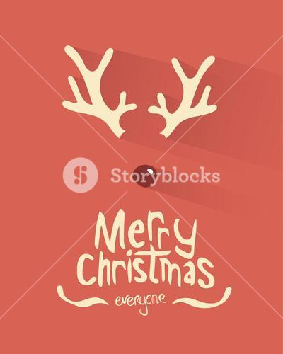 Merry christmas vector with antlers and red nose