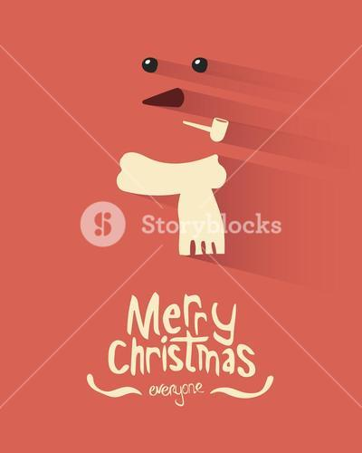 Merry christmas vector with snowman