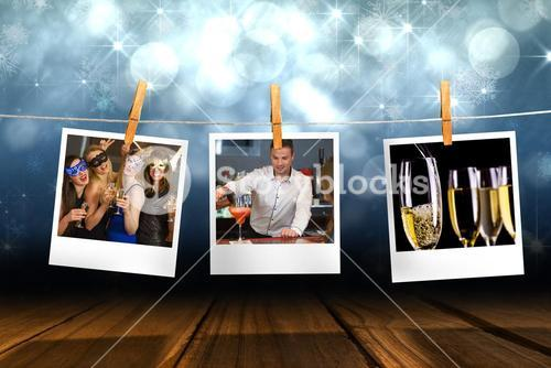 Composite image of handsome bartender serving cocktail to gorgeous woman