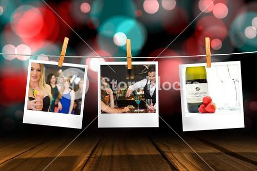 Composite image of handsome bartender serving cocktail to attractive woman