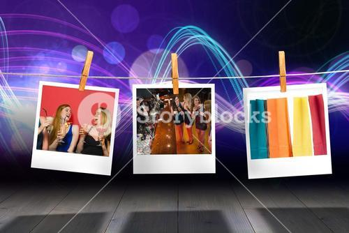 Composite image of gorgeous women having cocktails together