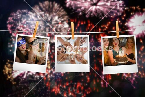 Composite image of happy friends celebrating brithday one holding birthday cake