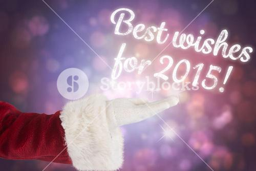 Composite image of santa claus shows open hand