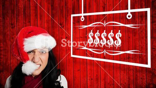 Composite image of irritated woman looking at camera
