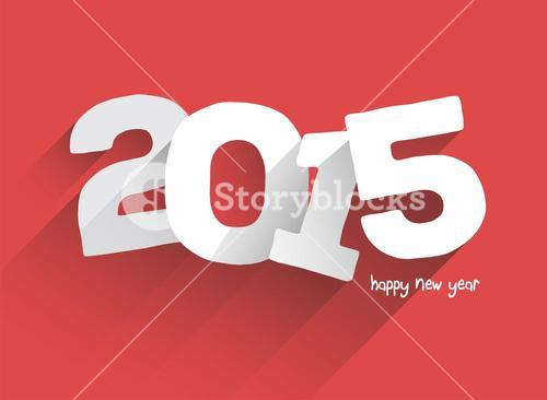 Bold 2015 on red background vector