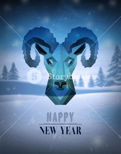 Happy new year vector with ram design