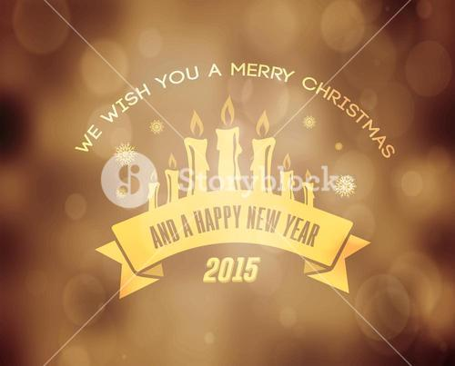 Merry christmas vector in gold with candles