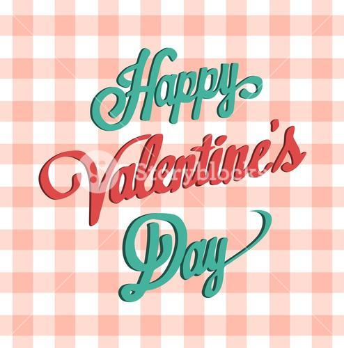 Happy valentines day vector on gingham pattern