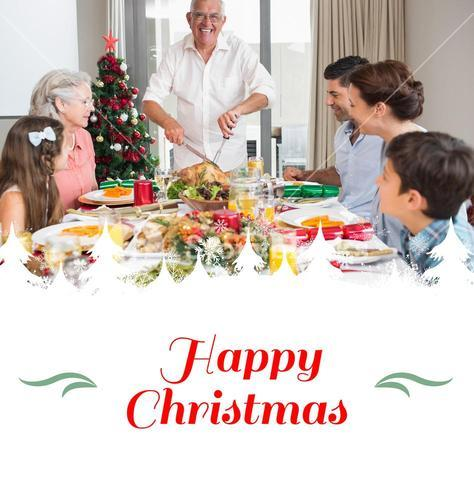 Composite image of extended family at dining table for christmas dinner in house