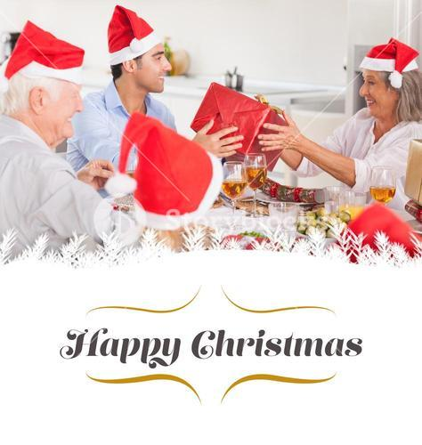 Composite image of happy family exchanging christmas gifts
