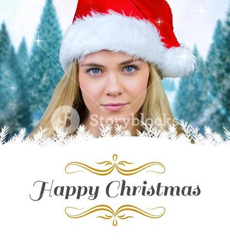Composite image of blonde with bare shoulders in santa hat