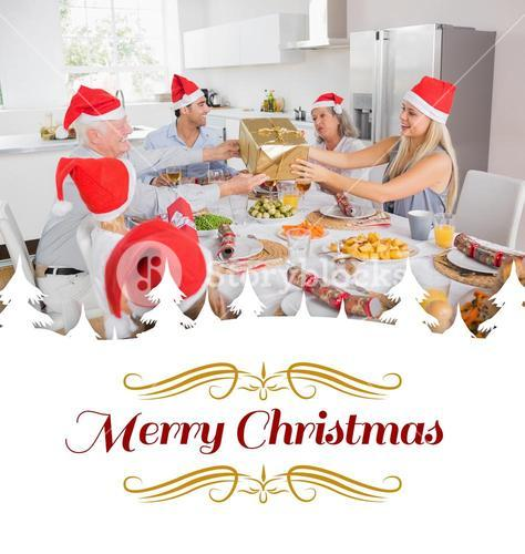 Composite image of festive family exchanging gifts