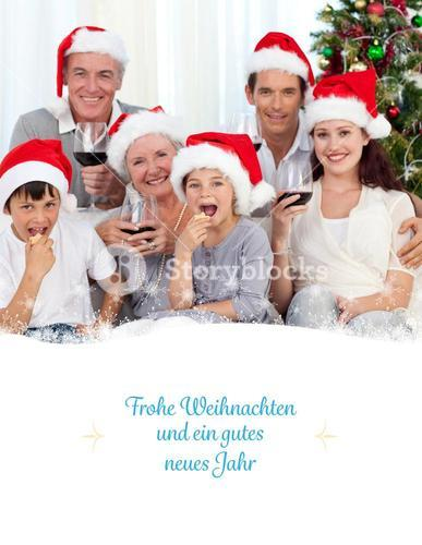 Composite image of family drinking wine and eating sweets in christmas