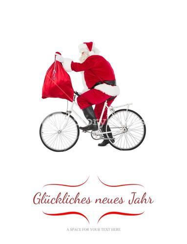 Composite image of santa cycling and holding his sack