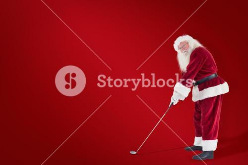 Composite image of santa claus is playing golf