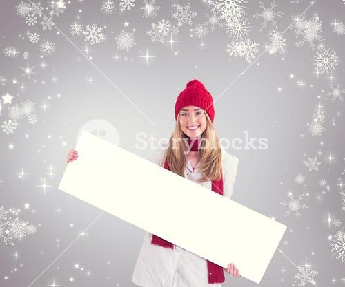 Composite image of pretty blonde showing white banner