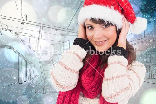 Composite image of cute brunette posing with her hands on head