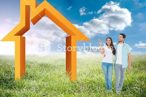 Composite image of happy casual couple walking together