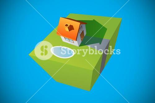 Composite image of 3d house and garden