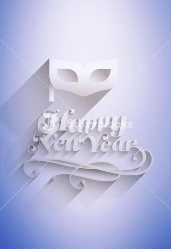 Composite image of happy new year message with masquerade mask