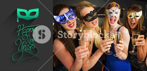 Composite image of attractive friends with masks on holding champagne glasses