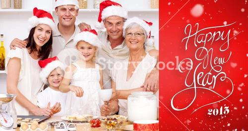 Composite image of children baking christmas cakes in the kitchen with their family