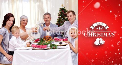 Composite image of family tusting in a christmas dinner