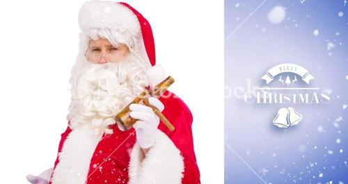 Composite image of santa claus holding beer and cigar