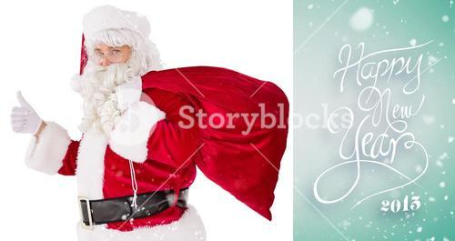 Composite image of positive santa with his sack and thumbs up
