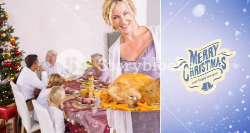 Composite image of proud mother showing roast turkey