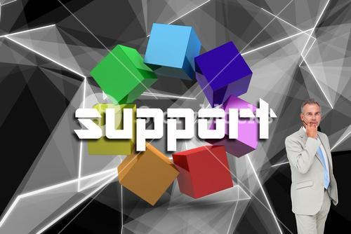 Support against abstract glowing black background
