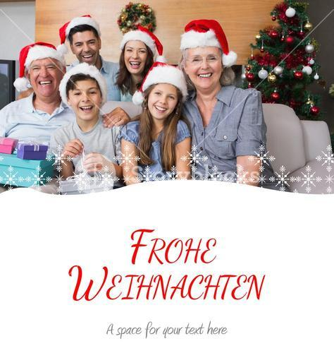 Composite image of extended family in christmas hats with gift boxes in living room