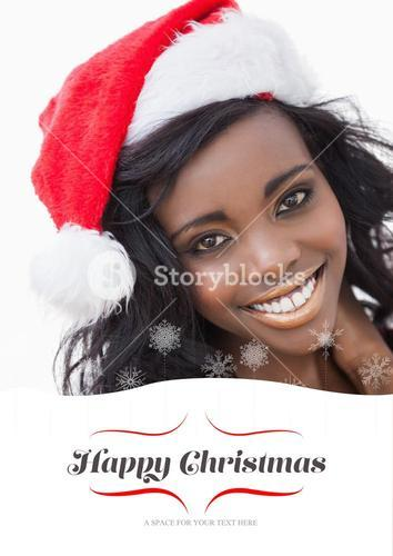 Composite image of woman wearing red dress and santa claus hat