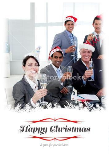 Composite image of manager and his team with novelty christmas hat toasting at a party