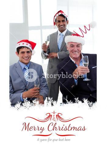 Composite image of confident businessmen wearing novelty christmas hat
