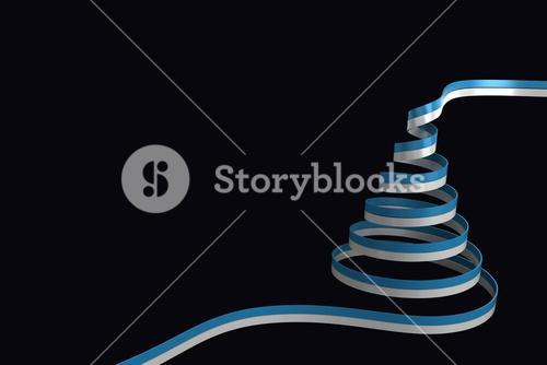 Composite image of blue and silver christmas tree ribbon