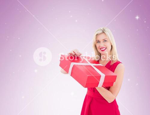 Pretty blonde opening gift
