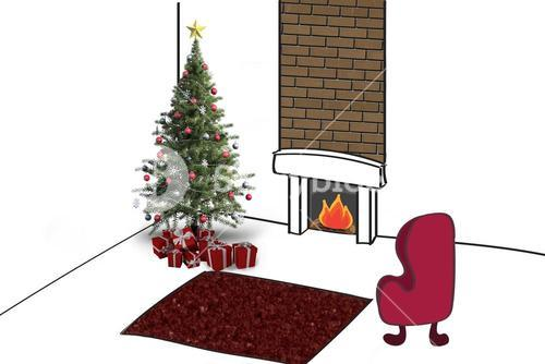 Composite image of christmas tree with presents