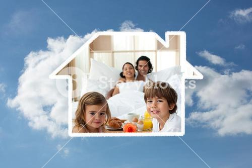 Composite image of siblings having breakfast with their parents