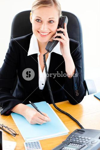 Selfassured businesswoman talking on phone and writing in her office
