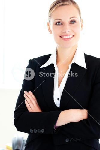 Confident young businesswoman looking at the camera