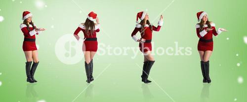 Composite image of different festive blondes