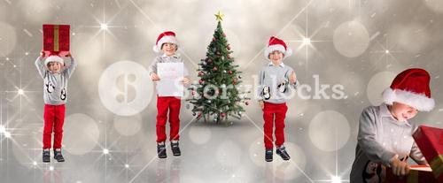 Composite image of different festive boys