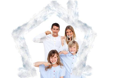 Composite image of smiling young family brushing their teeths