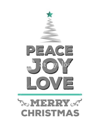 Peace love and joy vector in green and grey