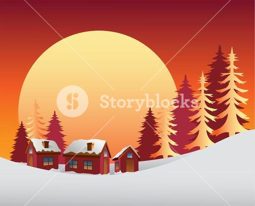 Snowy scene with the sunrise