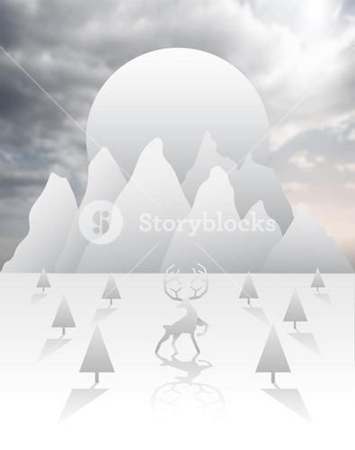 Reindeer and forest vector in white and grey