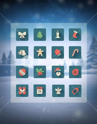 Christmas icons in grid over snowy scene