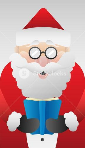 Cute santa claus reading vector