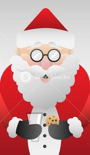 Cute santa claus with cookie vector